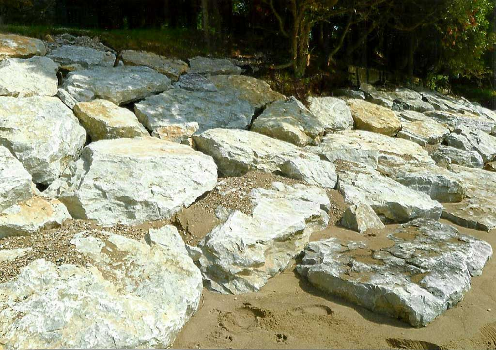 Nebel Construction provides Door County with natural stone shoreline protection