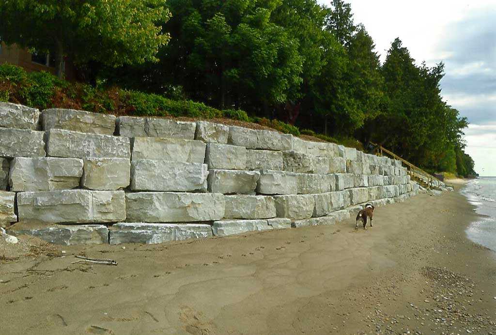 Nebel Construction provides Door County with natural stone wall shoreline protection